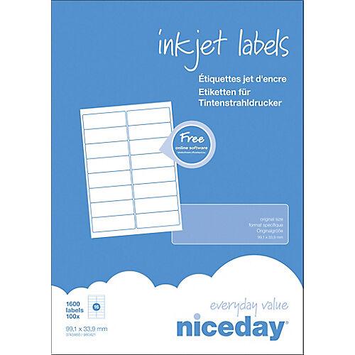 Niceday Étiquettes Niceday Laser Special format Blanc 99 1 x 33 9 mm 100 Feuilles de 16 Étiquettes