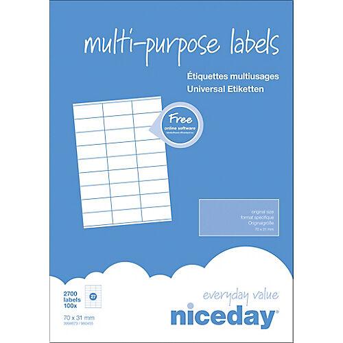 Niceday Étiquettes multifonctions Niceday 980455 Blanc 70 x 31 mm 100 Feuilles de 27 Étiquettes