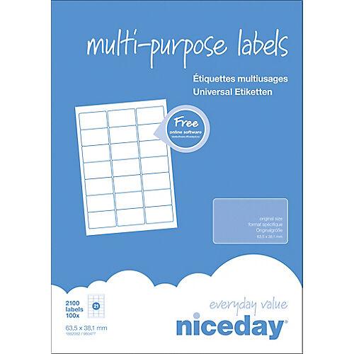 Niceday Étiquettes multifonctions Niceday 1882082 Blanc 63 5 x 38 1 mm 100 Feuilles de 21 Étiquettes