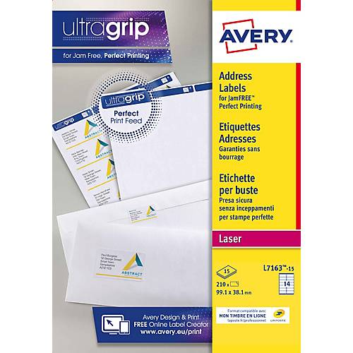 Avery Étiquettes adresse Avery L7163-15 99 1 x 38 1 mm Blanc 99 1 x 38 1 mm 15 Feuilles de 14 Étiquettes