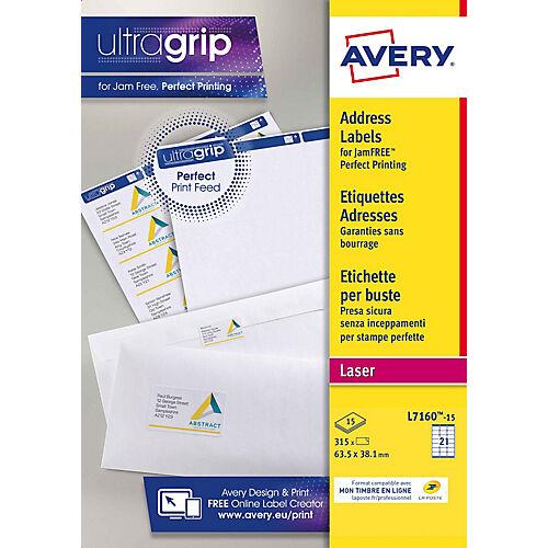 Avery Étiquettes adresse Avery L7160-15 Blanc 63 5 x 38 1 mm 15 Feuilles de 21 Étiquettes