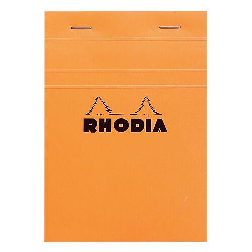 Rhodia Bloc de bureau petits carreaux 80 feuilles Rhodia A6 Agrafées Orange Carton rigide Quadrillé 160 Pages - 80 Feuilles
