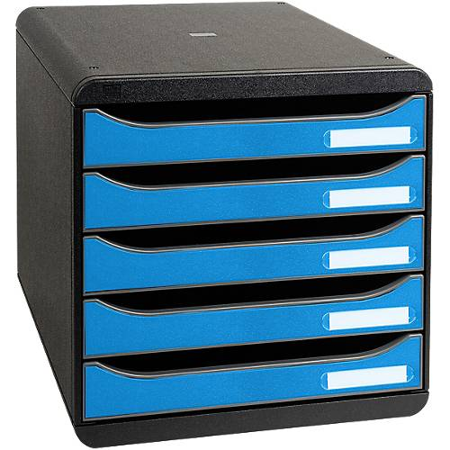 Exacompta Module de classement Exacompta 5 tiroirs CleanSafe A4+ Bleu/Noir 27 8 x 34 7 x 27 1 cm