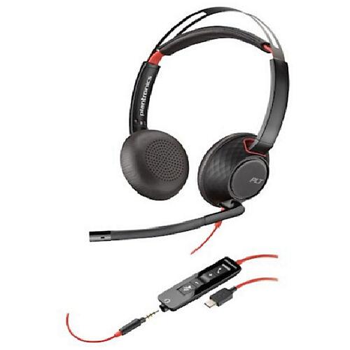 Plantronics Micro-casque Plantronics Plantronics Blackwire 5200 Filaire Stéréo Sur tête Oui USB  3.5 mm Jack Oui Noir