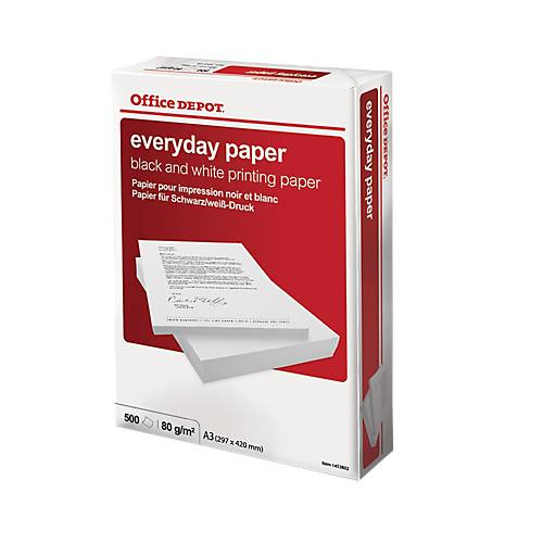 Office Depot Papier Office Depot A3 80 g/m² Blanc Everyday - 500 Feuilles