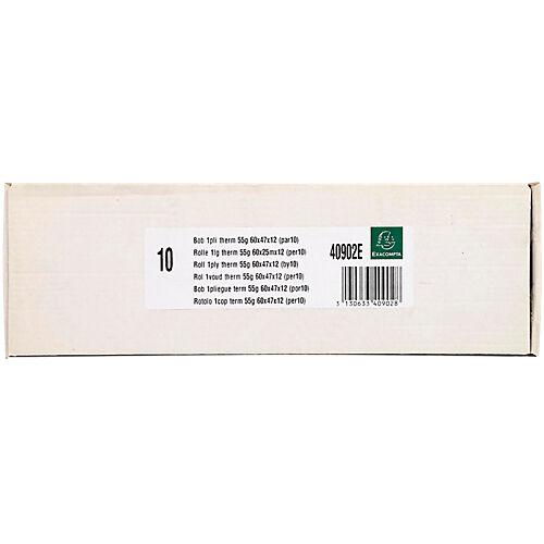 Exacompta Bobines CB Exacompta Papier thermique sans BPA 60 mm x 60 mm x 12 mm x 25 m - 10 Unités