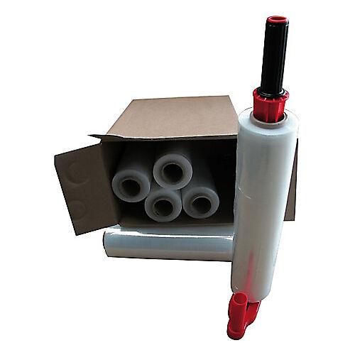Sans marque Kit 6 bobines de film étirable et 1 dérouleur plastique 450 mm x 300 m 17 µm - 6 Rouleaux