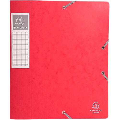 Exacompta Boites de classement à élastique Exacompta Carte lustrée véritable 24 x 32 cm Rouge 10 Unités