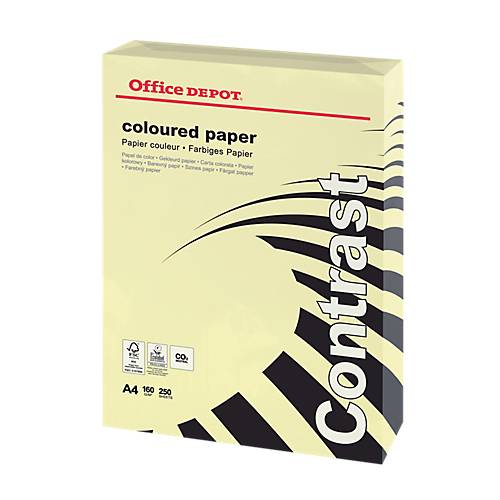 Office Depot Papier couleur Office Depot A4 160 g/m² Jaune Contrast - 250 Feuilles