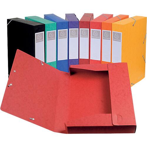 Exacompta Boites de classement à élastique Exacompta Carte lustrée véritable 24 x 6 x 32 cm Assortiment 10 Unités
