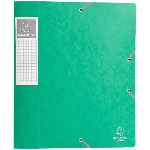 Exacompta Boites de classement à élastique Exacompta Carte lustrée véritable 24 x 6 x 32 cm Vert 10 Unités