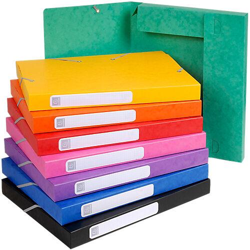 Exacompta Boites de classement à élastique Exacompta Carte lustrée véritable 24 x 2 5 x 32 cm Assortiment 25 Unités
