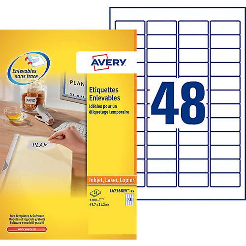 Avery Étiquettes repositionnables Avery Stick & Lift Blanc 45 7 x 21 2 mm 48 Feuilles de 25 Étiquettes