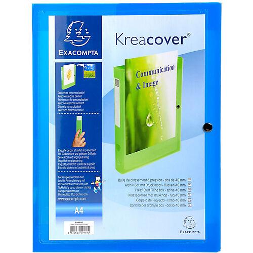 Exacompta Boites de classement à pression Exacompta Krea Cover 24 x 32 cm Bleu