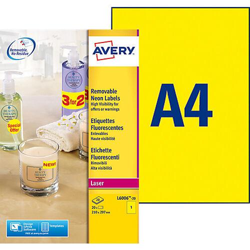 Avery Étiquettes fluorescentes Avery L6006-20 Jaune fluo 210 x 297 mm 20 Feuilles de 1 Étiquettes