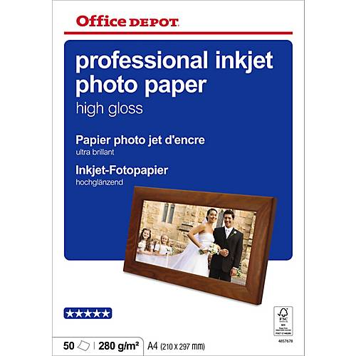 Office Depot Papier photo professionnel Brillant Blanc Office Depot Professional A4 280 g/m² - 50 Feuilles