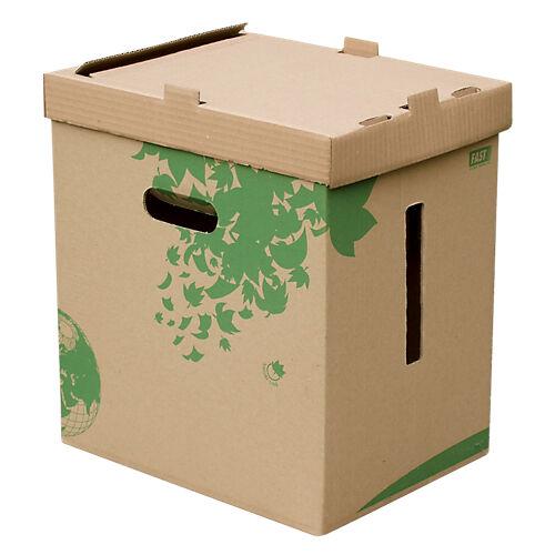 FAST Corbeille à papier recyclée FAST Nature Carton Brun/Vert 32 5 x 24 5 x 36 cm - 10 Unités