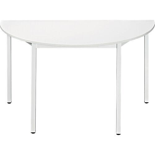 Sans marque Table de réunion modulaire 1/2 rondes Domino 1200 x 600 x 740 mm Blanc