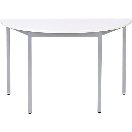 Sans marque Table de réunion modulaire 1/2 rondes Domino 1400 x 700 x 740 mm Blanc