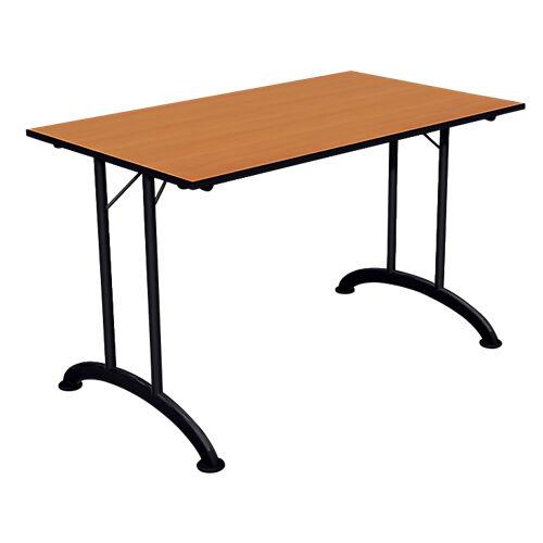 Sans marque Table de réunion rectangulaire pliante 1200 x 700 x 740 mm Noir  imitation poirier
