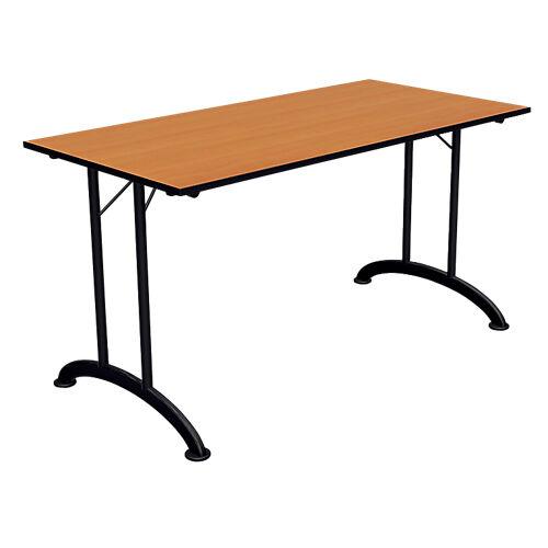Sans marque Table de réunion rectangulaire pliante Table de réunion 1400 x 700 x 740 mm Noir  imitation poirier