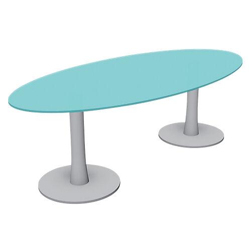 Sans marque Table ovale London 2400 x 1100 x 750 mm Gris  Transparent
