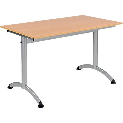 Sans marque Table de réunion Modulo 1200 x 700 x 750 mm Argenté  Imitation Hêtre