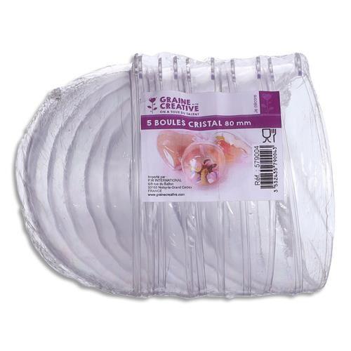 Lot de 5 boules en plastique cristal à décorer, diamètre 80mm qualite alimentaire