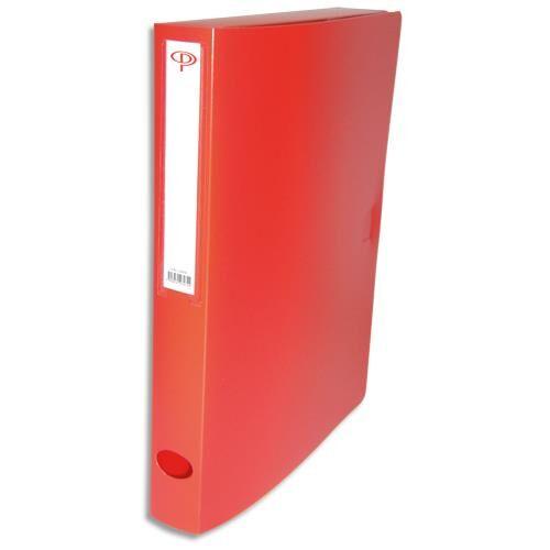 1er prix Boîte de classement - dos de 4 cm - en polypropylène 7/10e - fermeture clip - rouge