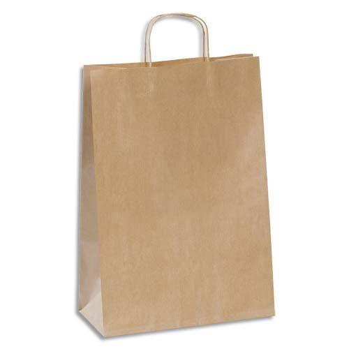 Welcome Office Sac Kraft poignées torsadées haute résistance - 29 x 42 cm - soufflet 14 cm - brun - Colis de 100 sacs
