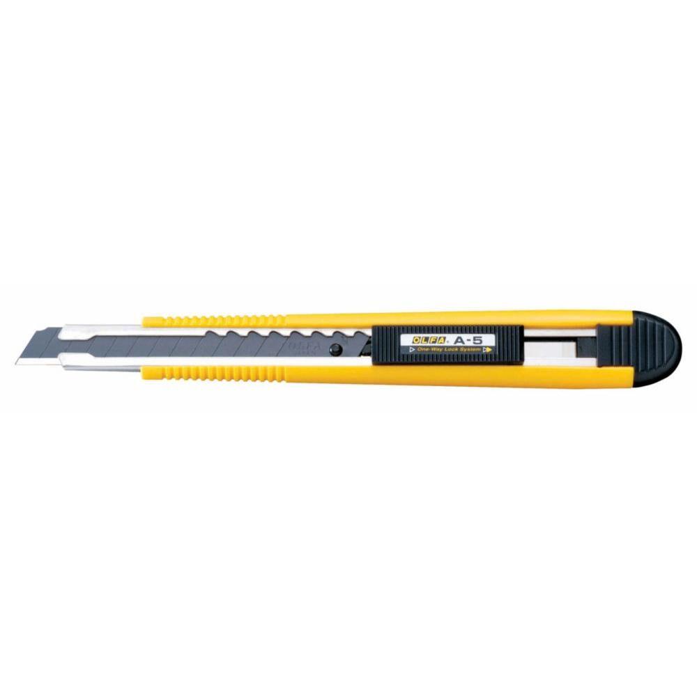 Olfa Cutter ambidextre Olfa A-5 - verrouillage automatique - lame sécable largeur 9 mm - jaune/noir