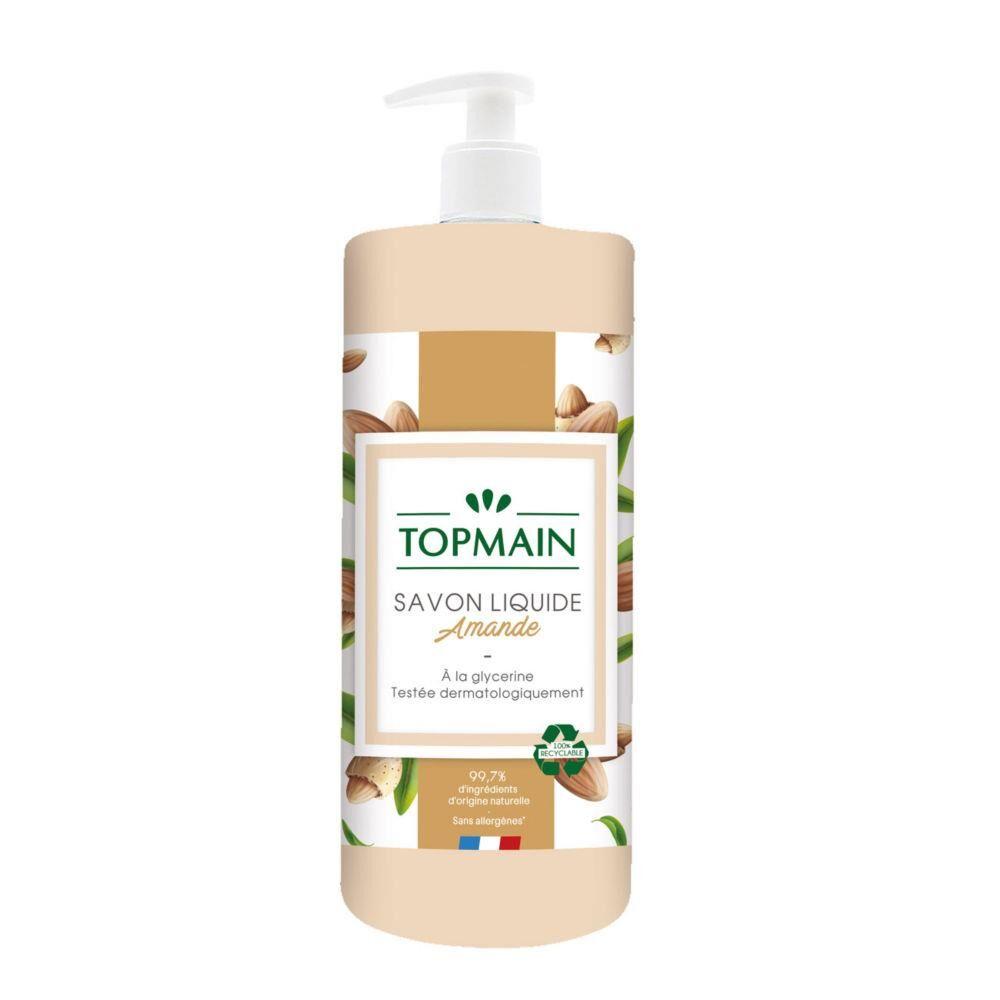 Topmain Savon liquide doux aux huiles essentielles - pour mains et corps - parfum amandes - flacon de 500 ml - Lot de 12