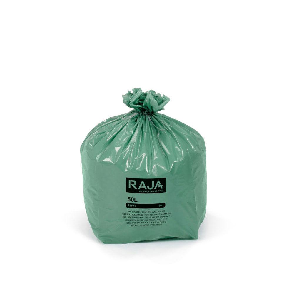 Raja Sacs poubelle Raja écologique - 100% recyclé - 50 litres - 30 microns - diamètre 43.3 x H. 80 cm - vert - carton de 200