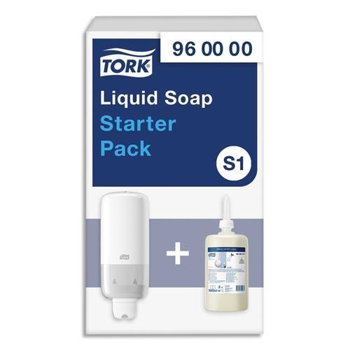 Tork Pack S1 Tork Starter - distributeur de savon + recharge d'1 litre de savon liquide doux parfumé