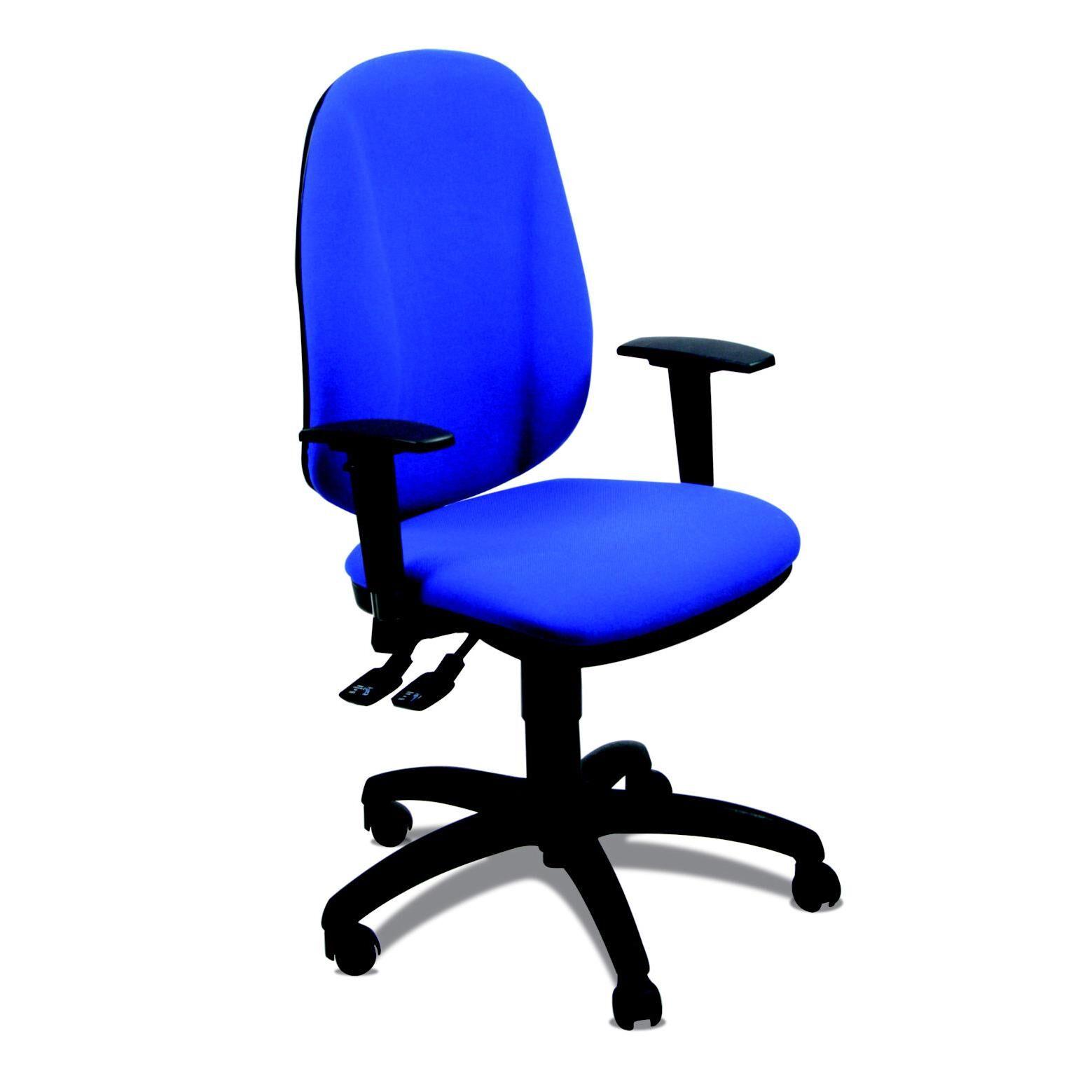 Welcome Office Siège de bureau Bio Confort - tissu rembourré - hauteur ajustable à roulettes - hauteur dossier 60 cm - bleu