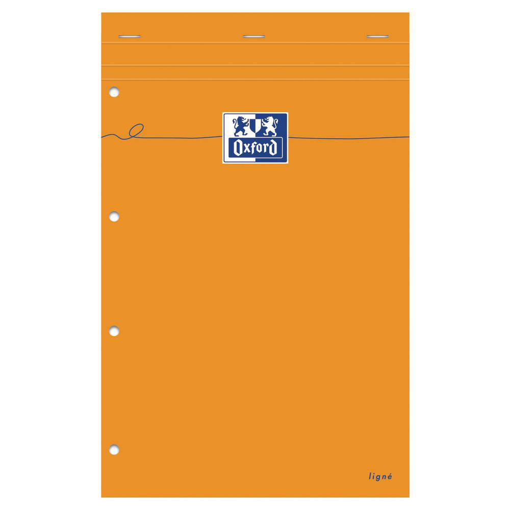 Oxford Bloc de bureau agrafé Oxford 80 feuilles A4 maxi - 24 x 32 cm - perforées 4 trous 80 g ligné jaune - couverture orange