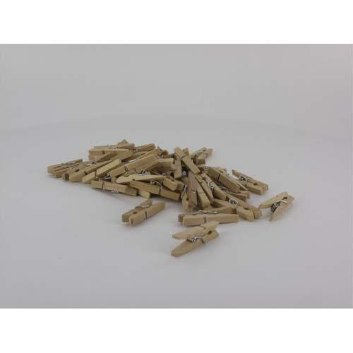 O Color Mini pinces à linges en bois brut à décorer - format 30 mm - lot de 48