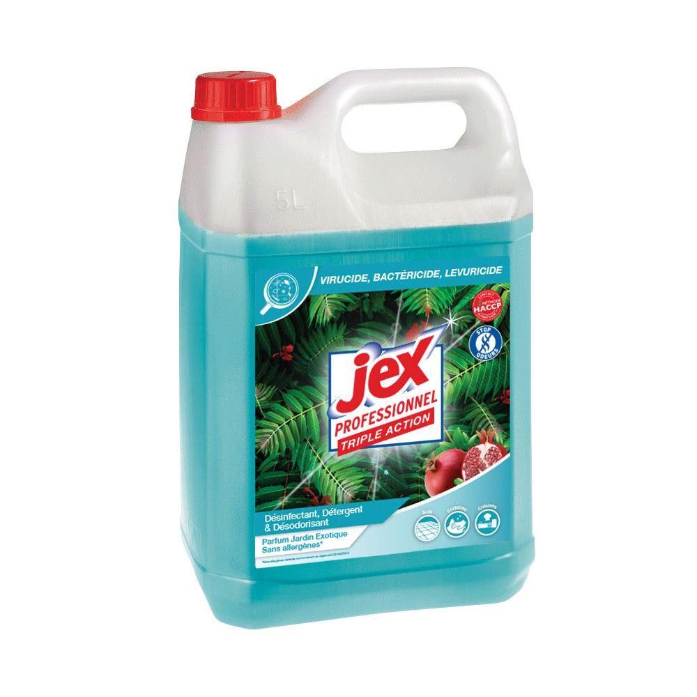 Jex Nettoyant multi-usages désinfectant Jex Express - destructeur d'odeurs - parfum jardin exotique - bidon de 5L