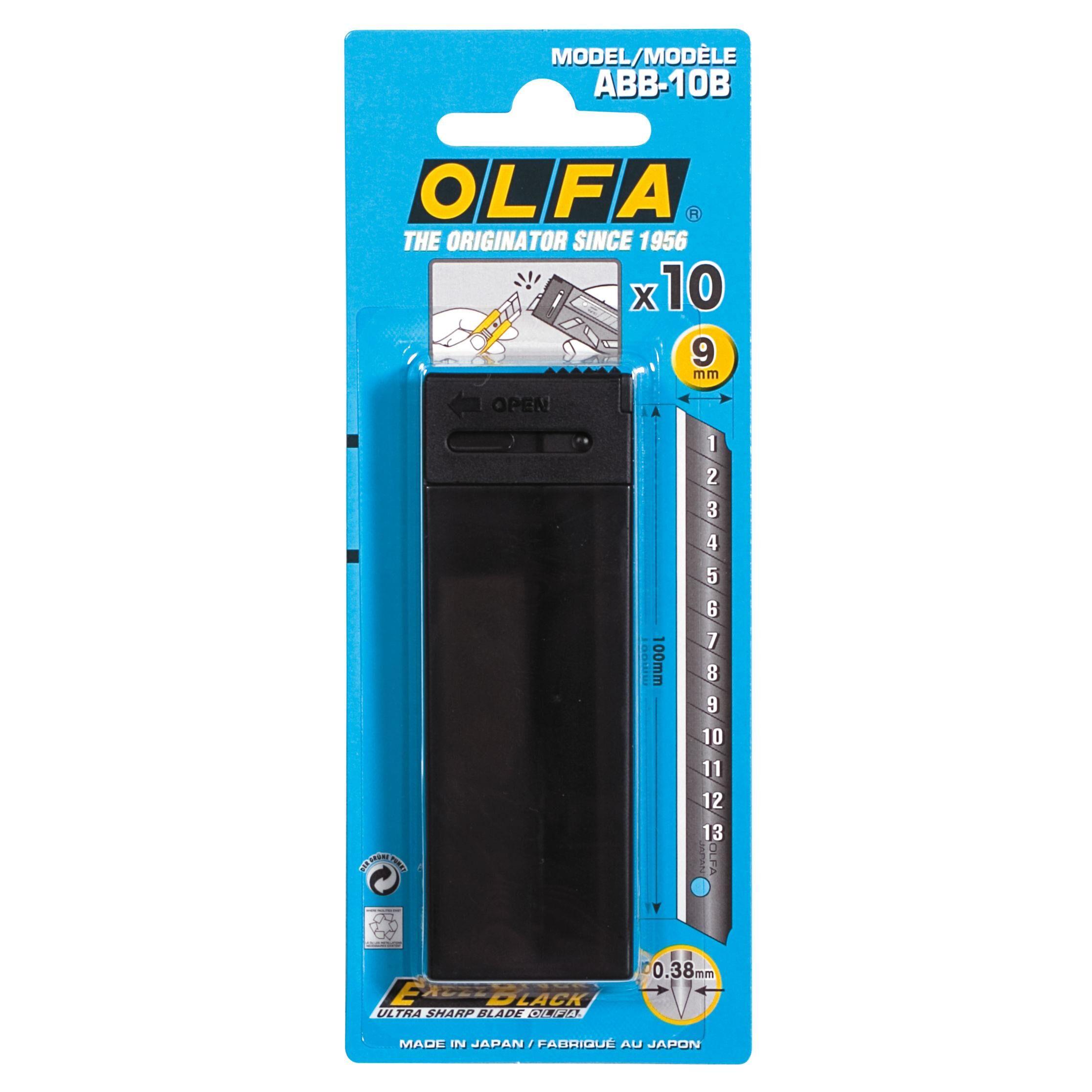 Olfa Lames Olfa ABB noires pour Cutter A-5 - largeur 9 mm - étui de 10