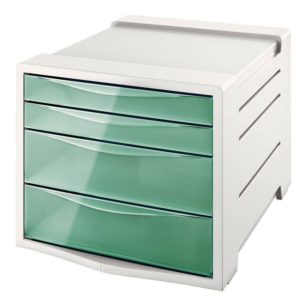 Esselte Bloc de classement Esselte Colour'Ice - 14 L - L24,5 x H36,5 x P28,5 cm - 4 tiroirs - vert - Lot de 4