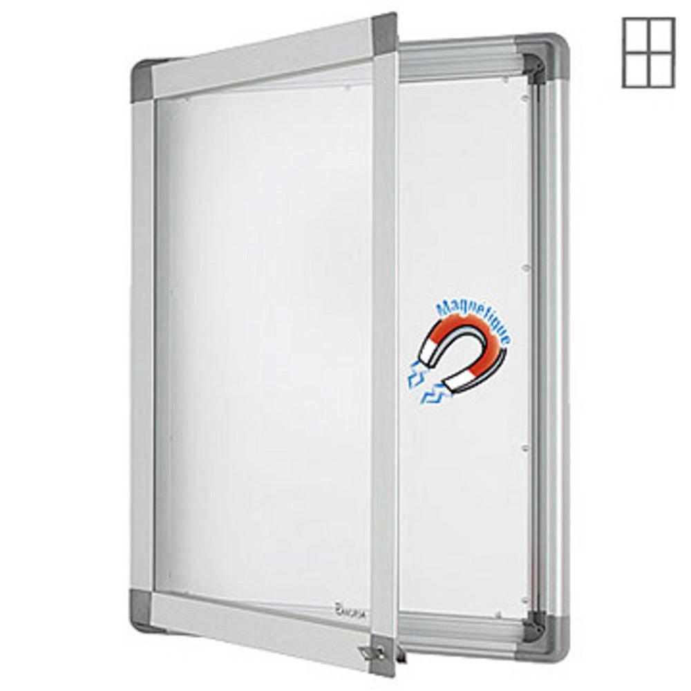 Welcome Office Vitrine intérieur cadre aluminium 4 feuilles A4 - fond métal