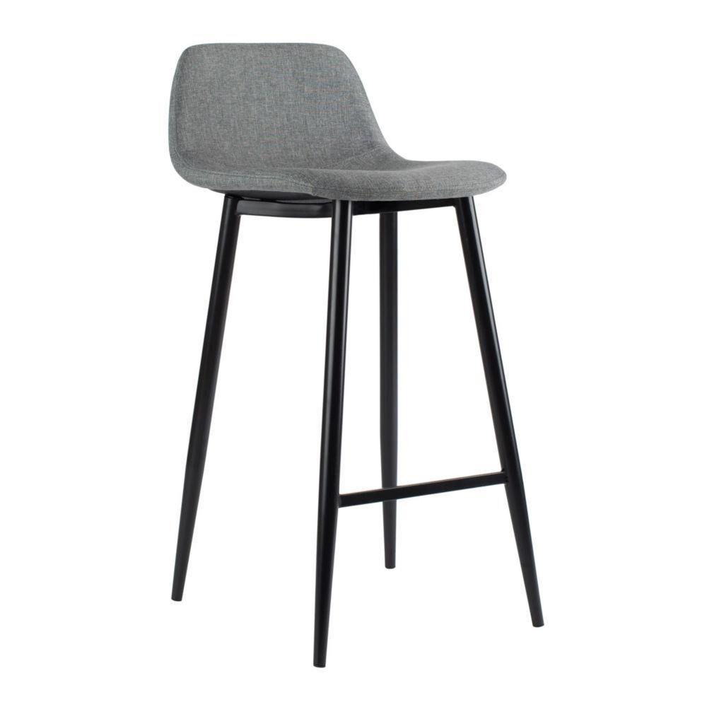 Welcome Office Tabouret Must - piètement acier noir - assise tissu 100% polyester gris - carton 2 unités - Lot de 2