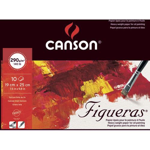 Canson Papier peinture Canson Figueras - à l'huile - 290 g - 19 x 25 - collé 1 côté - grain toile - blanc - bloc de 10 feuilles