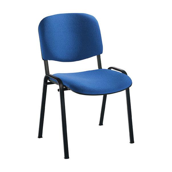 EOL Chaise Anthra avec assise et dossier tissu Bali bleu électrique - structure 4 pieds métal de forme ovale noir avec embouts de protection antidérapants - Lot de 5