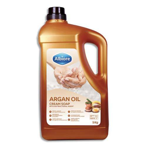 Albiore Crème moussante Albiore - pour les mains - avec agent antibactérien - à l'huile d'argan - bidon de 5 kg