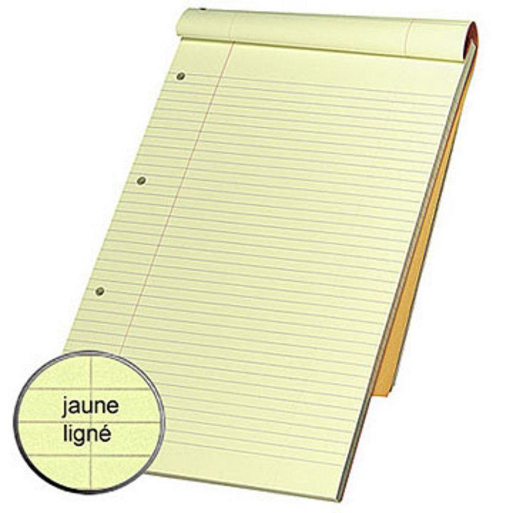 Clairefontaine Bloc notes orange agrafé 21 x 32 cm - ligné jaune - 80 feuilles perforées - Lot de 5