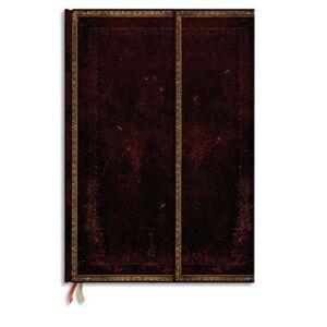 Paperblanks Carnet Paperblanks - reliure classique à l'ancienne Marocain - 13 x 18 cm 144 pages - ligné - noir - Publicité