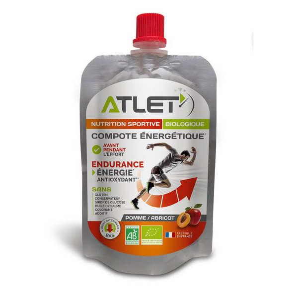 Atlet Compote énergétique bio aux pommes et abricots - 3 flasques de 100g