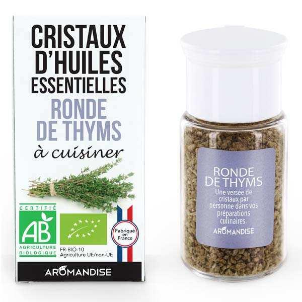 Aromandise Ronde de Thyms - Cristaux d'huiles essentielles à cuisiner - Bio - Flacon 10g