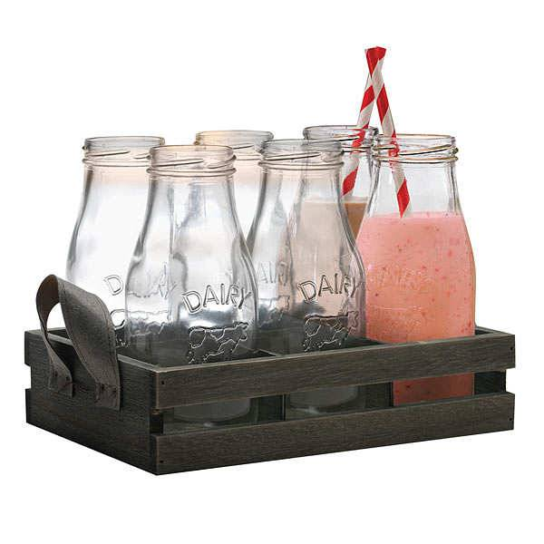 Eddingtons Coffret 6 bouteilles en verre et pailles - Le kit 13 pièces